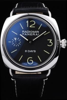 Panerai Radiomir Polished Stainless Steel Case Black Dial Black Leather Strap 98138 Panerai Replica Watch