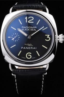 Panerai Radiomir Polished Stainless Steel Case Black Dial Black Leather Strap 98140 Panerai Replica Watch