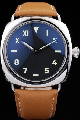 Panerai Radiomir Polished Stainless Steel Case Black Dial Brown Leather Strap 98160 Panerai Replica Watch