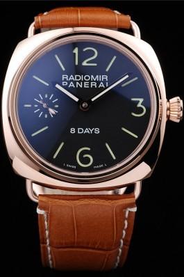 Panerai Radiomir Rose Gold Case Black Dial Brown Leather Strap 98136 Panerai Replica Watch