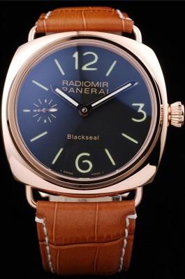 Panerai Radiomir Rose Gold Case Black Dial Brown Leather Strap 98137 Panerai Replica Watch