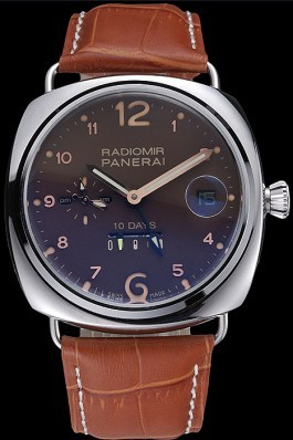 Panerai Radiomir Stainless Steel Bezel Cognac Leather Bracelet 622327 Panerai Replica Watch