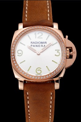 Panerai Radiomir White Dial Diamond Bezel Rose Gold Case Brown Suede Leather Strap 1453799 Panerai Replica Watch