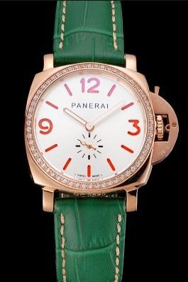 Panerai Radiomir White Dial Diamond Bezel Rose Gold Case Green Leather Strap 1453803 Panerai Replica Watch