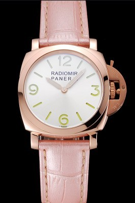 Panerai Radiomir White Dial Rose Gold Case Pink Leather Strap 1453802 Panerai Replica Watch