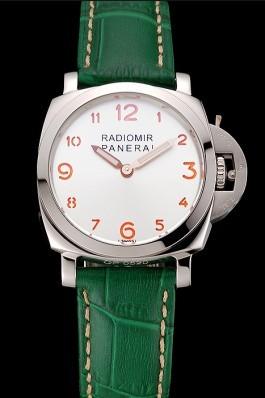 Panerai Radiomir White Dial Stainless Steel Case Green Leather Strap 1453804 Panerai Replica Watch