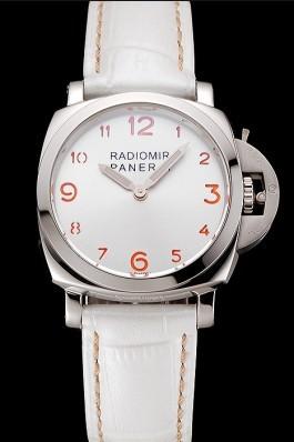 Panerai Radiomir White Dial Stainless Steel Case White Leather Strap 1453805 Panerai Replica Watch