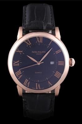 Patek Philipe Calatrava Roze Gold Polished Bezel Black Leather Bracelet 801435 Aaa Grade Patek Philippe Replica