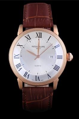 Patek Philipe Calatrava Roze Gold Ribbed Bezel Brown Leather Bracelet 801434 Aaa Grade Patek Philippe Replica