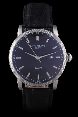 Patek Philipe Calatrava Stainless Steel Ribbed Bezel Black Leather Bracelet 801431 Aaa Grade Patek Philippe Replica