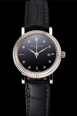 Patek Philippe Calatrava Black Dial Diamond Hour Marks Double Ribbed Bezel Stainless Steel Case Black Leather Strap Aaa Grade Patek Philippe Replica