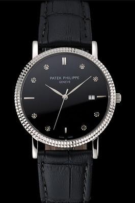 Patek Philippe Calatrava Black Dial Diamond Hour Marks Ribbed Bezel Stainless Steel Case Black Leather Strap Aaa Grade Patek Philippe Replica