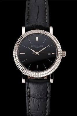 Patek Philippe Calatrava Black Dial Double Ribbed Bezel Stainless Steel Case Black Leather Strap Aaa Grade Patek Philippe Replica