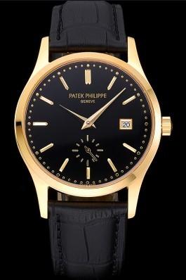 Patek Philippe Calatrava Black Dial Gold Case Black Leather Strap 622845 Aaa Grade Patek Philippe Replica