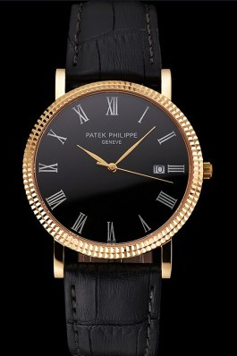 Patek Philippe Calatrava Black Dial Roman Numerals Ribbed Bezel Gold Case Black Leather Strap Aaa Grade Patek Philippe Replica