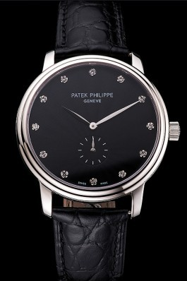 Patek Philippe Calatrava Black Dial Stainless Steel Case Black Leather Strap Aaa Grade Patek Philippe Replica