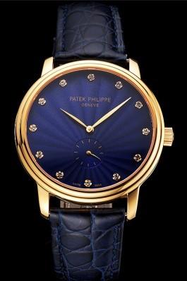Patek Philippe Calatrava Blue Guilloche Dial Gold Case Blue Leather Strap Aaa Grade Patek Philippe Replica