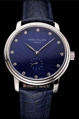 Patek Philippe Calatrava Blue Guilloche Dial Stainless Steel Case Blue Leather Strap Aaa Grade Patek Philippe Replica