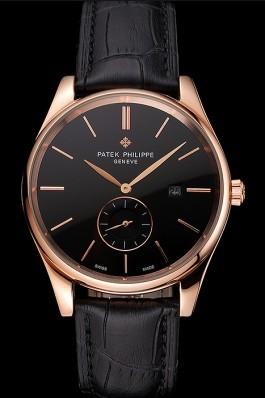 Patek Philippe Calatrava Date Black Dial Rose Gold Case Black Leather Strap Aaa Grade Patek Philippe Replica