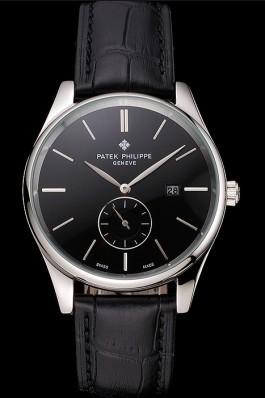 Patek Philippe Calatrava Date Black Dial Stainless Steel Case Black Leather Strap Aaa Grade Patek Philippe Replica