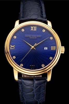 Patek Philippe Calatrava Date Blue Embossed Dial Gold Case Blue Leather Strap Aaa Grade Patek Philippe Replica