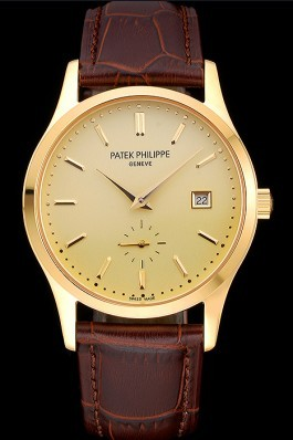 Patek Philippe Calatrava Gold Dial Gold Case Brown Leather Strap 622846 Aaa Grade Patek Philippe Replica