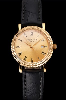Patek Philippe Calatrava Gold Dial Roman Numerals Double Ribbed Bezel Gold Case Black Leather Strap Aaa Grade Patek Philippe Replica