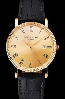Patek Philippe Calatrava Gold Dial Roman Numerals Ribbed Bezel Gold Case Black Leather Strap Aaa Grade Patek Philippe Replica