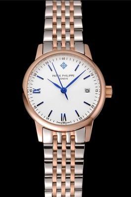Patek Philippe Calatrava Ladies White Dial Blue Numerals Rose Gold Case Two Tone Bracelet 1453830 Aaa Grade Patek Philippe Replica