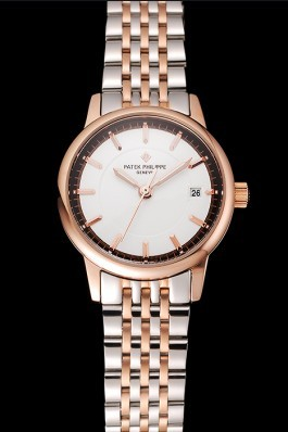 Patek Philippe Calatrava Ladies White Dial Rose Gold Case Two Tone Bracelet 1453832 Aaa Grade Patek Philippe Replica
