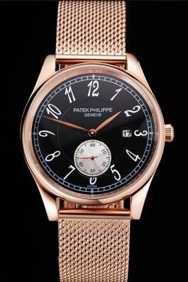 Patek Philippe Calatrava Small Seconds Black Dial Rose Gold Case And Bracelet Aaa Grade Patek Philippe Replica
