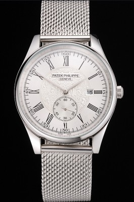 Patek Philippe Calatrava Small Seconds Silver Engraved Dial Stainless Steel Case And Bracelet Aaa Grade Patek Philippe Replica