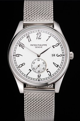 Patek Philippe Calatrava Small Seconds White Dial Stainless Steel Case And Bracelet Aaa Grade Patek Philippe Replica