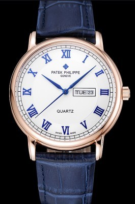 Patek Philippe Calatrava White Dial Blue Roman Numerals Gold Case Blue Leather Bracelet 1454056 Aaa Grade Patek Philippe Replica