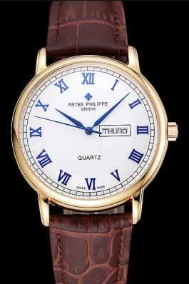 Patek Philippe Calatrava White Dial Blue Roman Numerals Gold Case Brown Leather Bracelet 1454057 Aaa Grade Patek Philippe Replica
