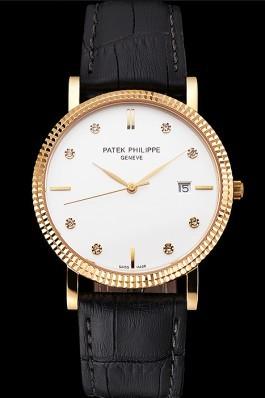 Patek Philippe Calatrava White Dial Diamond Hour Marks Ribbed Bezel Gold Case Black Leather Strap Aaa Grade Patek Philippe Replica