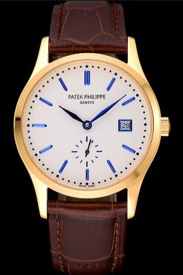 Patek Philippe Calatrava White Dial Gold Case Brown Leather Strap 622844 Aaa Grade Patek Philippe Replica