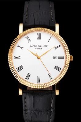 Patek Philippe Calatrava White Dial Roman Numerals Ribbed Bezel Gold Case Black Leather Strap Aaa Grade Patek Philippe Replica