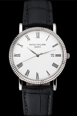 Patek Philippe Calatrava White Dial Roman Numerals Ribbed Bezel Stainless Steel Case Black Leather Strap Aaa Grade Patek Philippe Replica