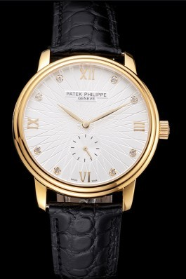 Patek Philippe Calatrava White Embossed Dial Gold Case Black Leather Strap Aaa Grade Patek Philippe Replica