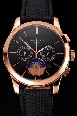 Patek Philippe Chronograph Black Dial Rose Gold Case Black Leather Strap Fake Patek Philippe