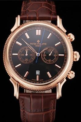 Patek Philippe Chronograph Black Dial Rose Gold Case Brown Leather Strap Fake Patek Philippe