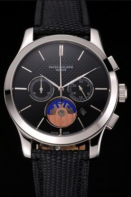 Patek Philippe Chronograph Black Dial Stainless Steel Case Black Leather Strap Fake Patek Philippe
