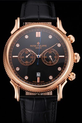 Patek Philippe Chronograph Black Dial With Diamonds Rose Gold Case Black Leather Strap Fake Patek Philippe