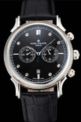 Patek Philippe Chronograph Black Dial With Diamonds Stainless Steel Case Black Leather Strap Fake Patek Philippe