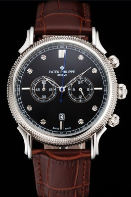Patek Philippe Chronograph Black Dial With Diamonds Stainless Steel Case Brown Leather Strap Fake Patek Philippe