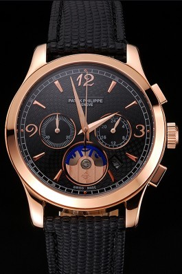 Patek Philippe Chronograph Black Guilloche Dial Rose Gold Case Black Leather Strap Fake Patek Philippe