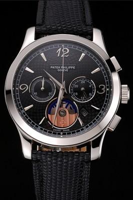 Patek Philippe Chronograph Black Guilloche Dial Stainless Steel Case Black Leather Strap  Fake Patek Philippe