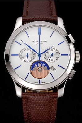 Patek Philippe Chronograph White Dial Blue Hands Stainless Steel Case Brown Leather Strap  Fake Patek Philippe