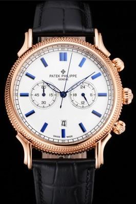 Patek Philippe Chronograph White Dial Blue Markings Rose Gold Case Black Leather Strap Fake Patek Philippe